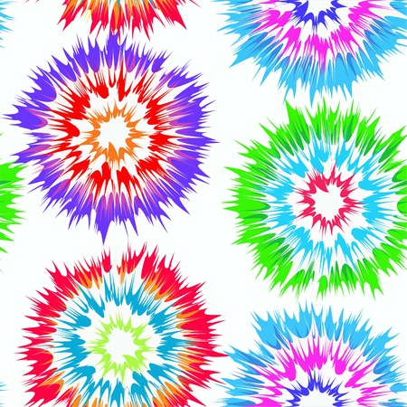 Tie dye circles vector repeat seamless pattern in bright, rainbow colors