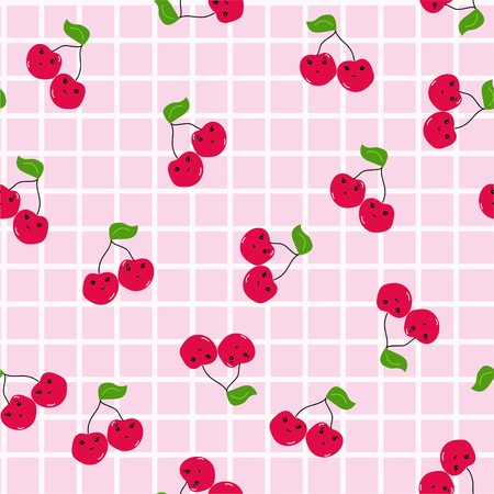 Kawaii red cherries on a pink grid background seamless repeat vector pattern