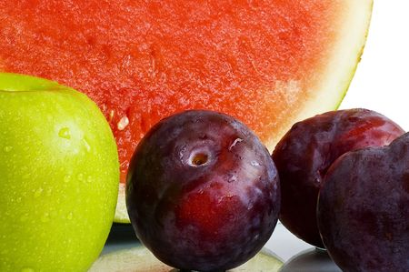 Mixed fresh fruits with water droplets Stock Photo