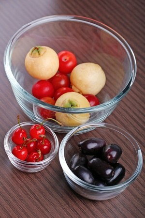 Indian fruits arranged in three glass bowls Stock Photo - 9738337