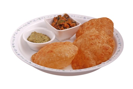 chutney: Indian deep-fried bread - poori with chutney and subzi