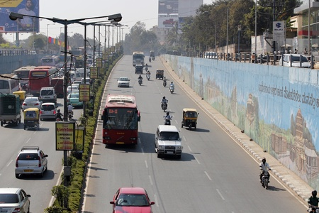 karnataka: Mekhri circle is one of the busiest junctions in bangalore. The underpass was constructed to ease the traffic problem. Nevertheless, the traffic is ever increasing, thanks to newly built international airport at devanahalli, Bangalore.