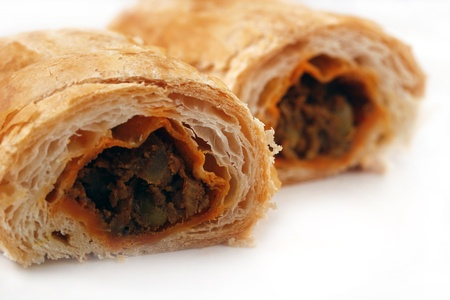 Baked vegetable roll with vegetable masala stuffing Stock Photo