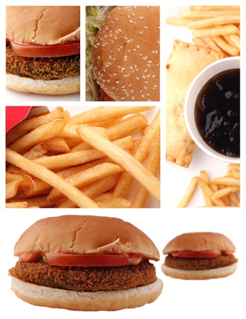 A collage of burger, french fries and aerated drink Stock Photo - 10527380