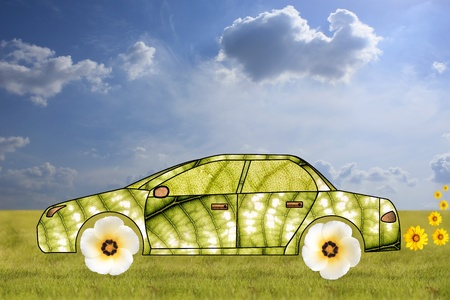 car leaf: Concept of green car made from leaves and flowers   Stock Photo