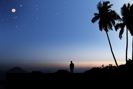 moonlit: Early morning sky with moon and stars and a person looking at the landscape below