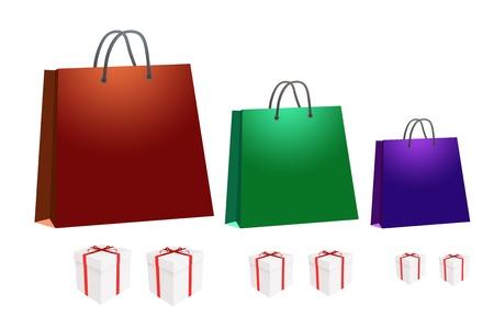 Shopping bag and gift box illustration isolated on white Stock Illustration - 11028892