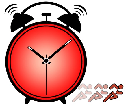 waking: Concept of importance of time showing ringing alarm clock  Stock Photo
