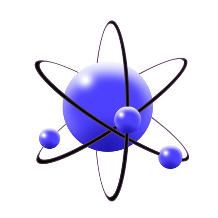 Illustration of atom with central nuclues and revolving electrons Stock Illustration - 11028895
