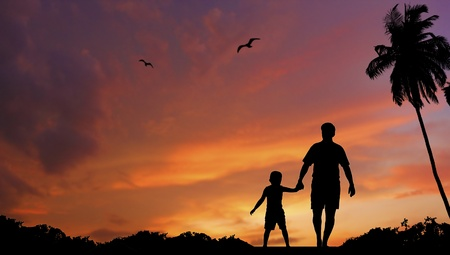 silhouette of father and sun walking together Stock Photo - 11028903