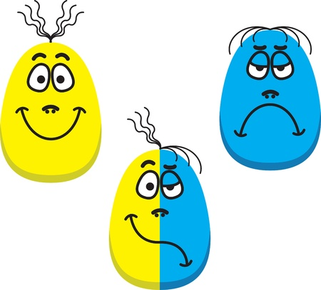 Three vector faces - One happy face, one sad face and one face showing mixed emotion photo