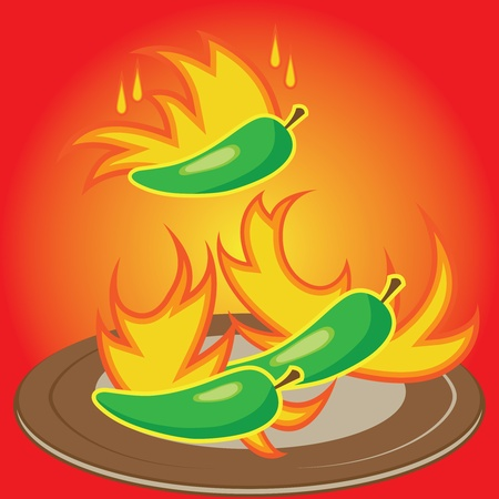 hot pepper: Hot chili pepper burning in fire - a concept of spicyness of chili