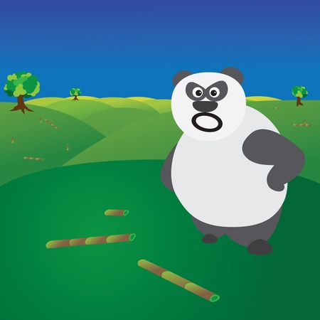 angry sky: Deforestation and loss of habitat concept showing angry panda without food