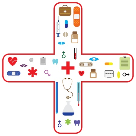 Medical vector icon set for health care and pharma industry. Stock Photo - 11513747