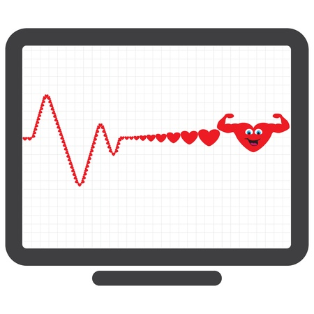 Monitor showing healthy and happy heart in graph photo