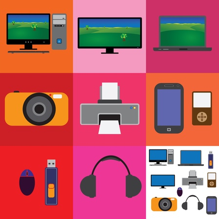 Electronic gadgets collection- tv,computer,camera,printer,laptop,phone,headphone,usb-drive,mouse,keyboard,cpu photo