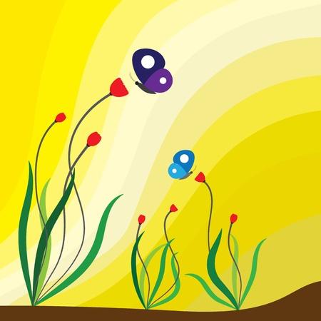 Spring season flowering plants, red flowers and butterflies  Vector