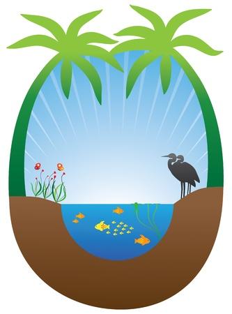 ecosistema: Concepto de ecosistema sostenible auto con estanque, plantas y animales