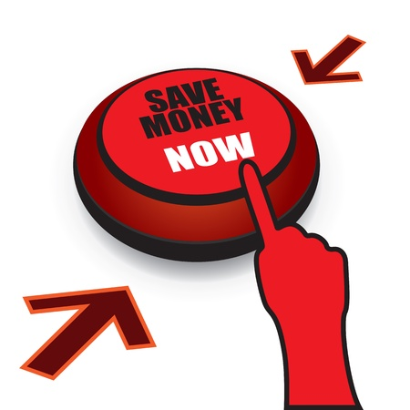 retirement savings: Save money now button with finger ready to press the button. CMYK colors used. Organized by layers. Gradients used.