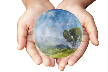 water ecosystem: Hands and Earth. Concept of saving planet. Symbol of environmental protection and conservation. Stock Photo