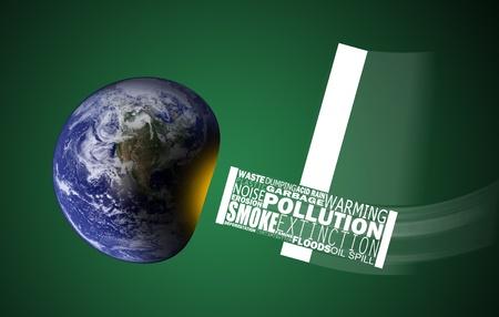 contaminacion acustica: Concepto de imagen con los problemas ambientales que bombardean la tierra con una necesidad urgente de conservar la tierra de la devastaci�n. Globo imagen de www.nasa.gov