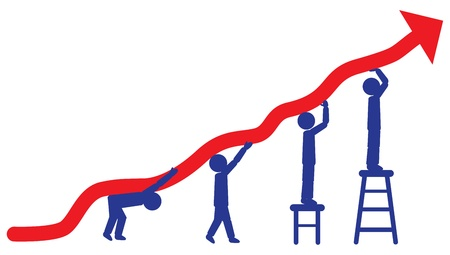 surpassing: People pushing up arrow - concept of employees working hard for company to achieve profits.