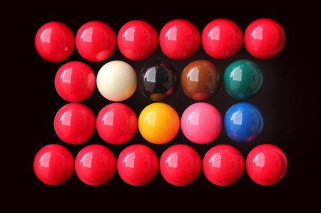 snooker balls: Snooker balls of various colors arranged in rows
