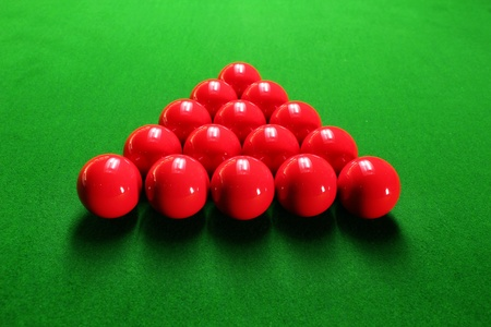 snooker table: Snooker balls arranged in triangular shape ready for play Stock Photo