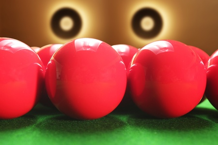 Snooker balls with beautiful circular lights in the background photo