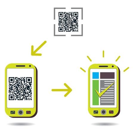 feldolgozás: QR Code feldolgozása mutatja mobiltelefon szkennelés és bemutató sikere. CMYK globális folyamat színeket használni. Szervezésében rétegek. Színátmenetek használni.