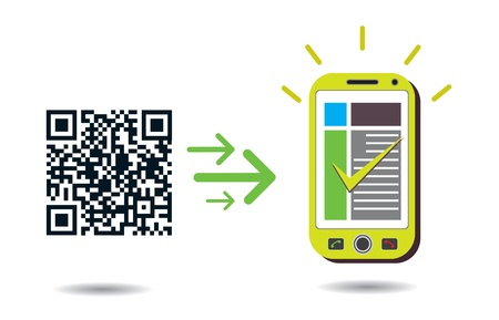 QR Code processing: Graphic showing cellphone processing QR codes. CMYK global process colors used. Organized by layers. Gradients used. Vector