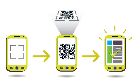 QR Code processing showing cellphone scanning and showing success. CMYK global process colors used. Organized by layers. Gradients used. Vector