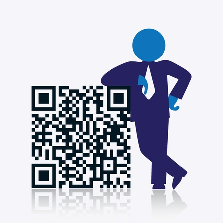qrcode: QR code with savvy businessman standing next to it. CMYK global process colors used. Organized by layers. Gradients used.