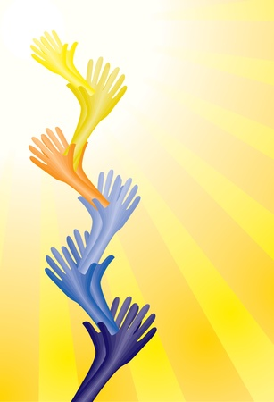 Colorful helping hands supporting each other to reach goal or destination. CMYK global process colors used. Organized by layers.  Illustration