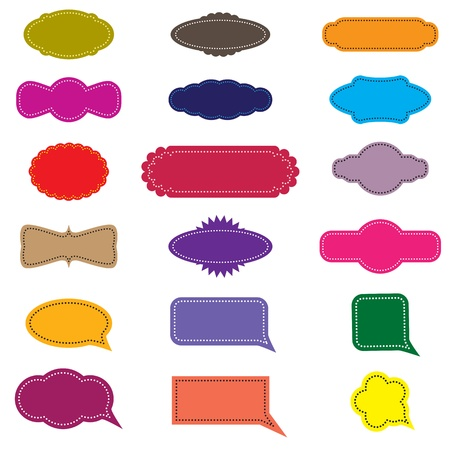Colorful design retro frames or labels and speech bubbles. CMYK global process colors used. Management by layers. AI EPS 8 Vector. Stock Vector - 11979823