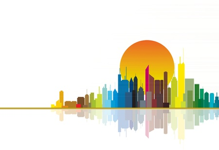 Colorful city silhouette illustration showing bright orange sun in the background.