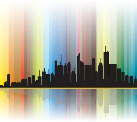 City silhouette illustration showing bright colorful lines in the background. Vector