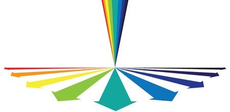 expanding: Arco iris de colores que muestran las flechas concepto de crecimiento Alround. Los colores CMYK globales del proceso utilizado. Capa de gesti�n obra de arte.