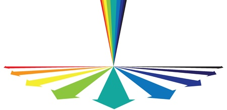 Rainbow colored arrows showing alround growth concept. CMYK Global Process Colors used. Layer managed artwork. Vector