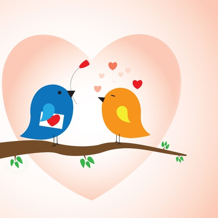 Two love birds in love - valentine days concept. CMYK Global Process Colors used. Gradients used.  Vector
