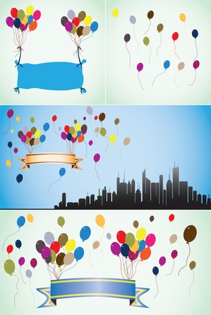 Colorful balloons, blank or empty banners and ribbons. Vector