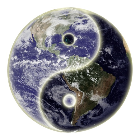 yin yang: Yin and yang symbol and globe or earth.  Stock Photo