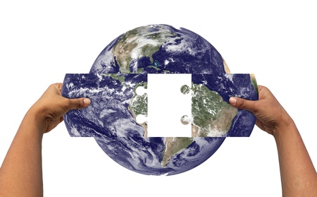 Concept of solving earths problems by joining parts of earth. Earth photo credit - http:www.nasa.gov photo