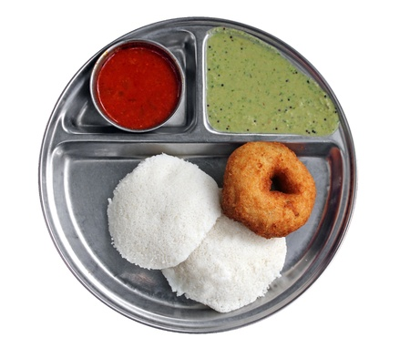 South indian breakfast - idly vada sambar and chutney photo