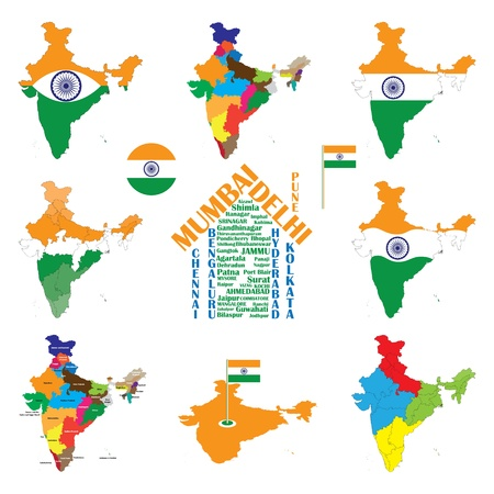 tri color: India map with indian flag. Indian cities displayed as house. Indian states and union territories map.  tri color and ashoka chakra. CMYK global process colors used. Organized by layers. AI EPS 8 Vector.