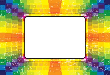 Colorful boxes in rainbow colors with grunge background and space for text. AI EPS 10 Vector. Gradients not used. Vector
