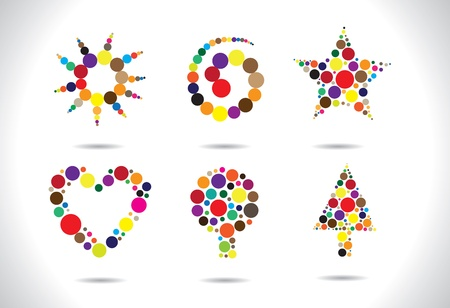 tree disc: Colorful circular shapes arranged to form symbols like flower, heart, tree, star, spiral, etc. AI EPS8 vector file. Artwork managed using layers. Illustration