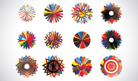 Colorful circular concentric geometric shapes made of repeating patterns. Artwork managed by layers. AI EPS 10 vector file.   Vector