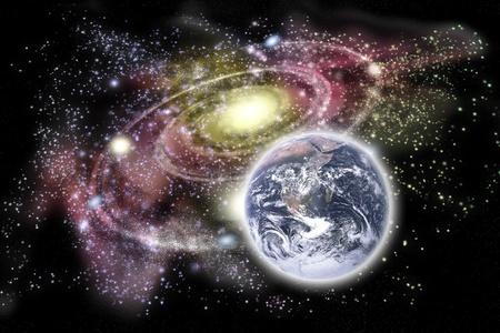 courtoisie: Plan�te terre au premier plan et des galaxies dans l'arri�re-plan. De courtoisie image de la Terre: http:www.nasa.gov