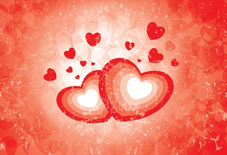 Heart symbols showing the emotion of love and romance on a grungy background. AI EPS 10 Vector. Stock Vector - 12195886